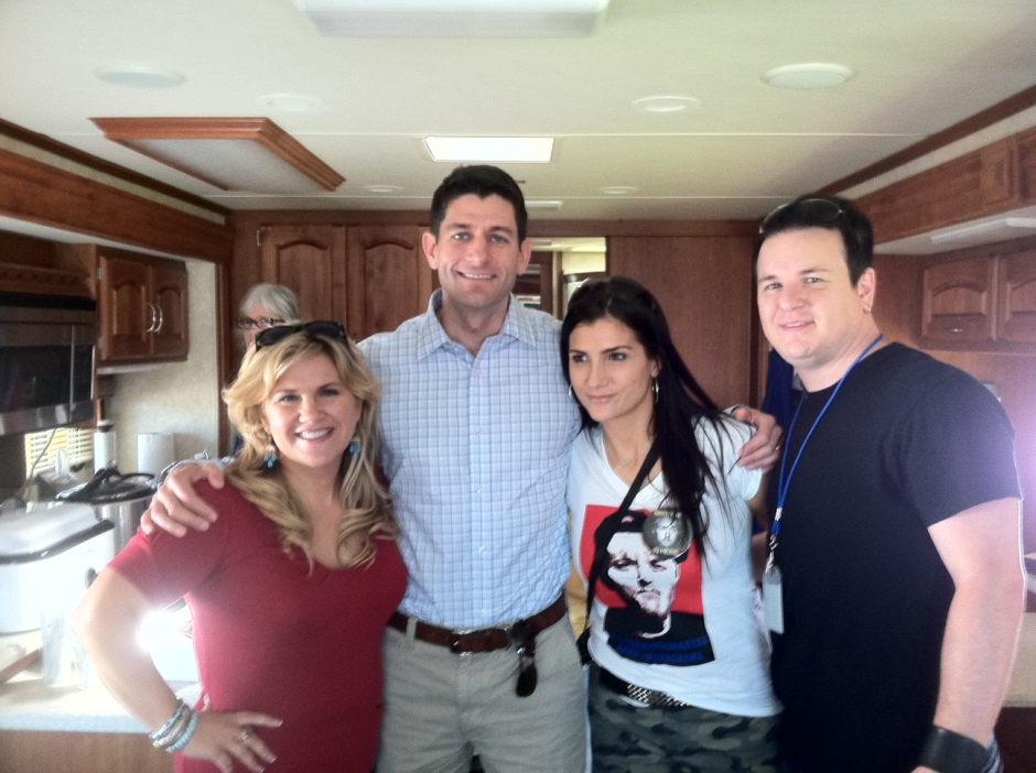 Me with Rep. Paul Ryan, Dana and Chris Loesch before heading out to speak at the Racine Tea Party, Racine County, Wisconsin.